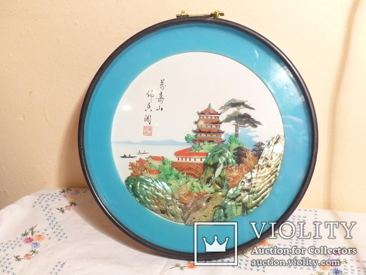картина из  перламутра - япония или старый китай -, фото №4