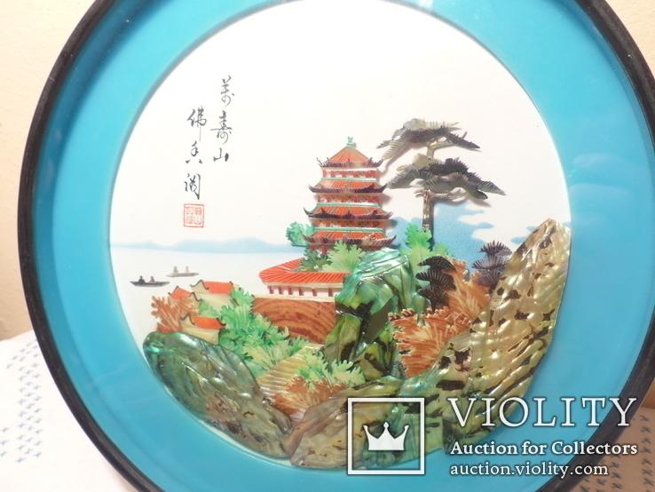 картина из  перламутра - япония или старый китай -, фото №5