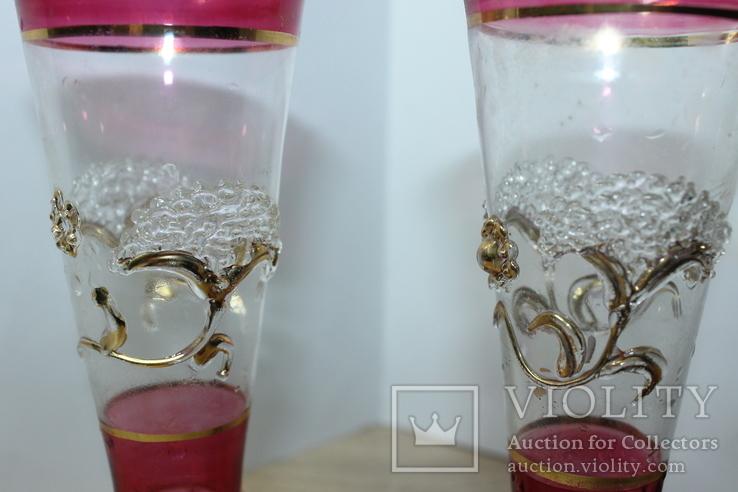 Два бокала с позолотой , ручная работа, фото №8