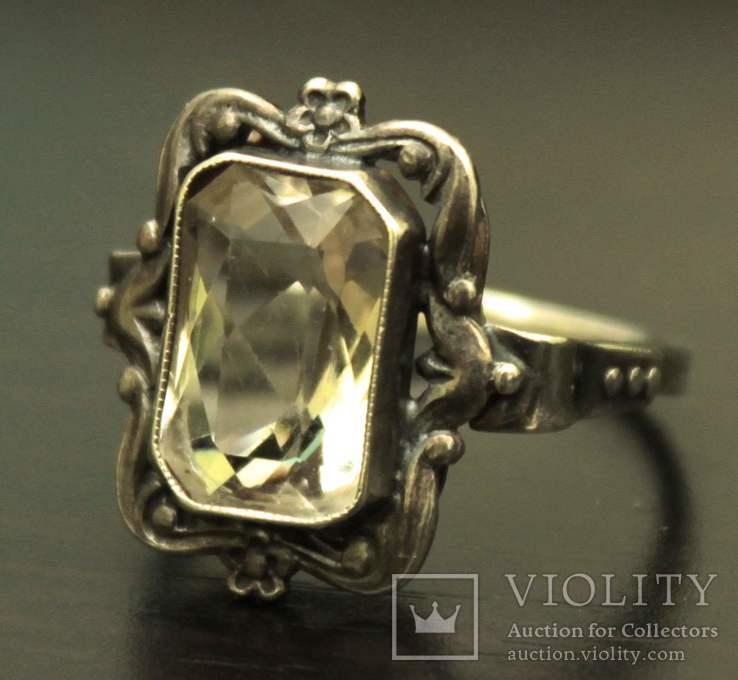 Кольцо серебро горный хрусталь СССР, фото №2