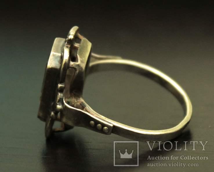 Кольцо серебро горный хрусталь СССР, фото №3