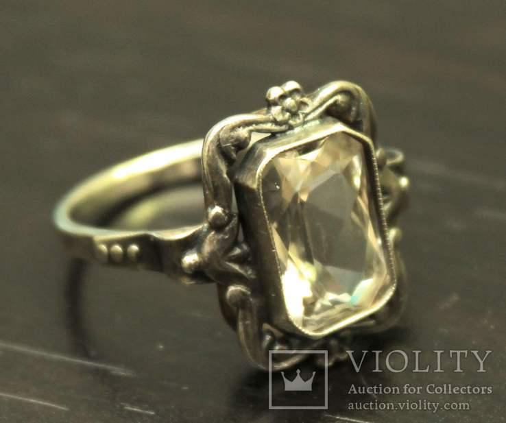 Кольцо серебро горный хрусталь СССР, фото №5