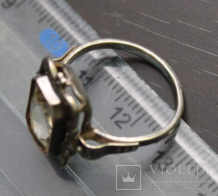 Кольцо серебро горный хрусталь СССР, фото №6