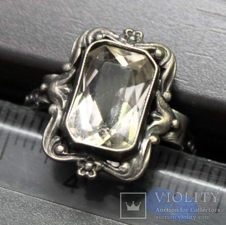 Кольцо серебро горный хрусталь СССР, фото №7