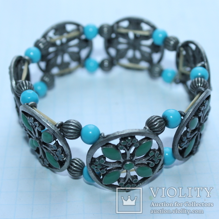 Металлический браслет с зеленым камнем, фото №7