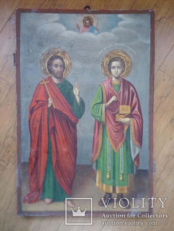 Ікона св.Петро і Пантелеймон, 77.5 на51.5см., фото №2
