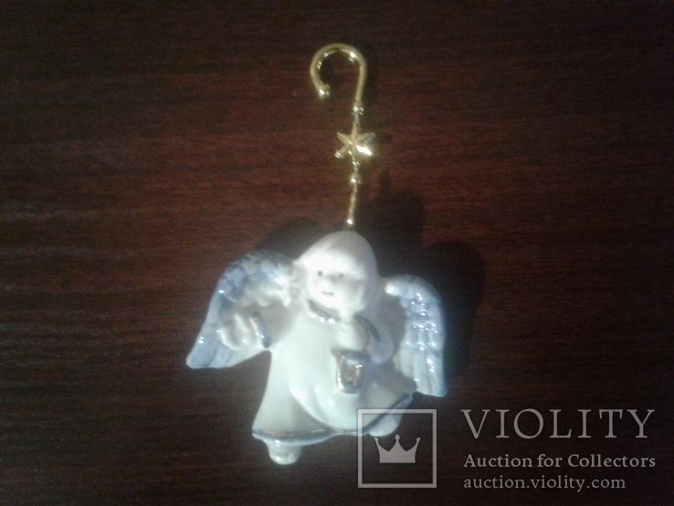 Игрушки ёлочные ангелочки 7см Германия фарфор, фото №2