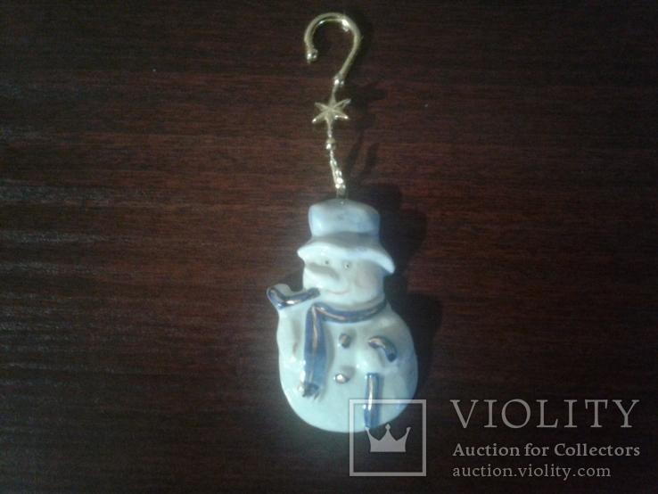 Игрушки ёлочные снеговик 7см Германия фарфор, фото №2
