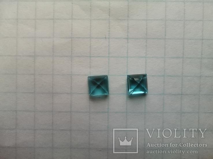 Два одинаковых квадратных голубых топаза, фото №5