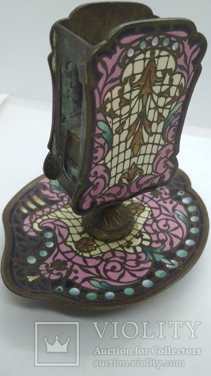 Старинная спичечница, бронза, гарячие перегородчатые эмали., фото №5