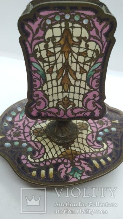 Старинная спичечница, бронза, гарячие перегородчатые эмали., фото №6