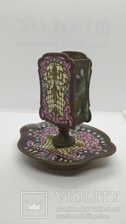 Старинная спичечница, бронза, гарячие перегородчатые эмали., фото №9