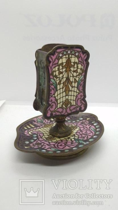 Старинная спичечница, бронза, гарячие перегородчатые эмали., фото №2