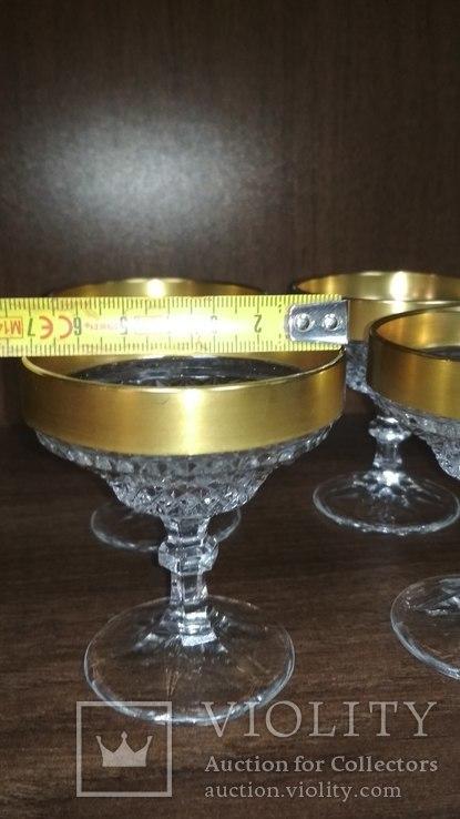 Хрустальные бокалы в позолоте, фото №3