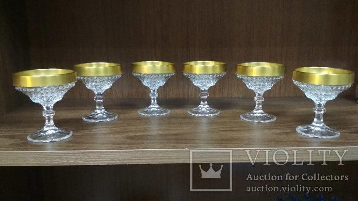 Хрустальные бокалы в позолоте, фото №11