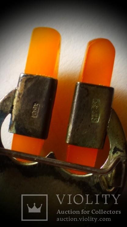 Брошь серебряная с янтарем, фото №4