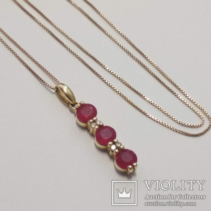 Золотая подвеска с натуральными рубинами и бриллиантами, фото №2