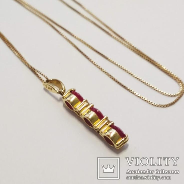 Золотая подвеска с натуральными рубинами и бриллиантами, фото №4