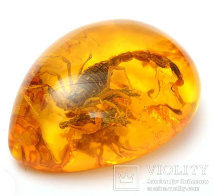 Кулон с скорпионом (имитация янтаря с инклюзом), фото №3