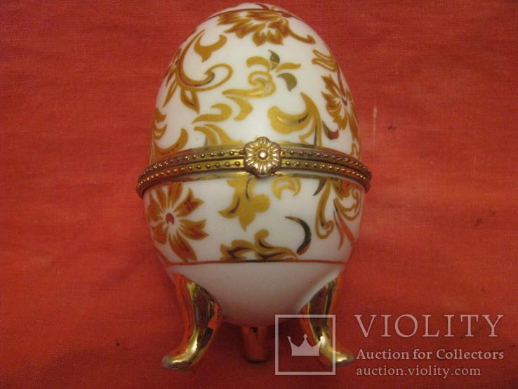 Шкатулка - Яйцо - золотые цветы - фарфор., фото №2