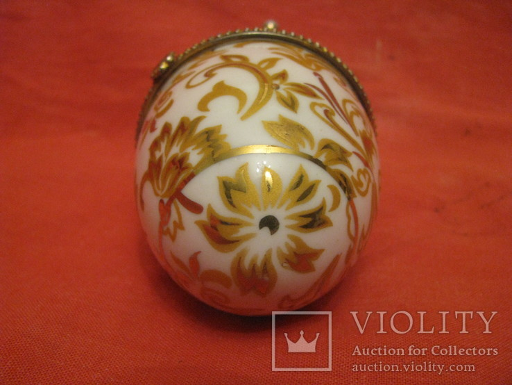 Шкатулка - Яйцо - золотые цветы - фарфор., фото №8