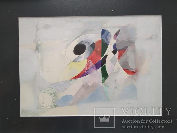"""Абстракция "" б.акв., 22х30 см. 1985 г. Вл. Цюбко, фото №2"
