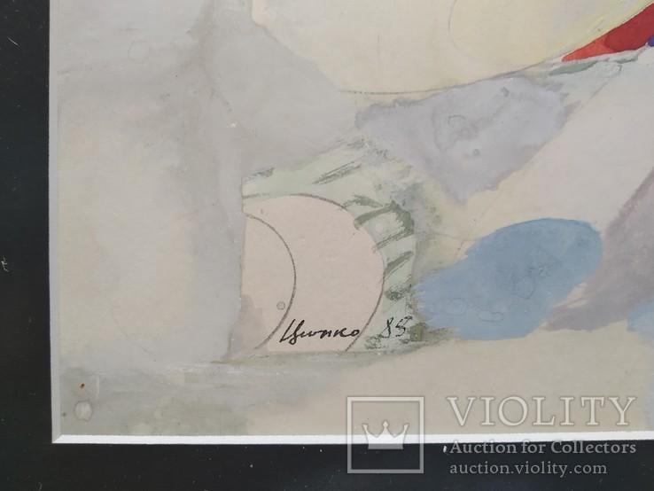 """Абстракция "" б.акв., 22х30 см. 1985 г. Вл. Цюбко, фото №5"