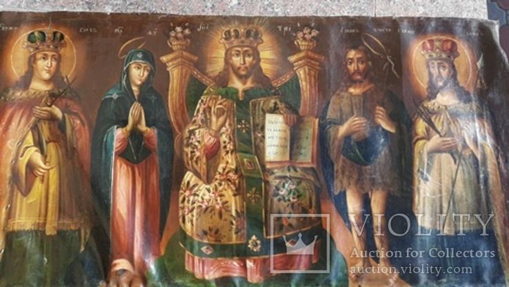Старинная икона на холсте со св.Глеб,Мария,Иисус,Иоанн,Борис, фото №2