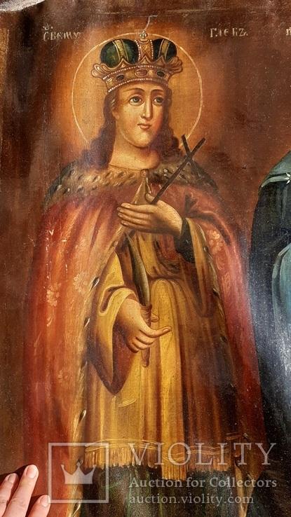 Старинная икона на холсте со св.Глеб,Мария,Иисус,Иоанн,Борис, фото №4