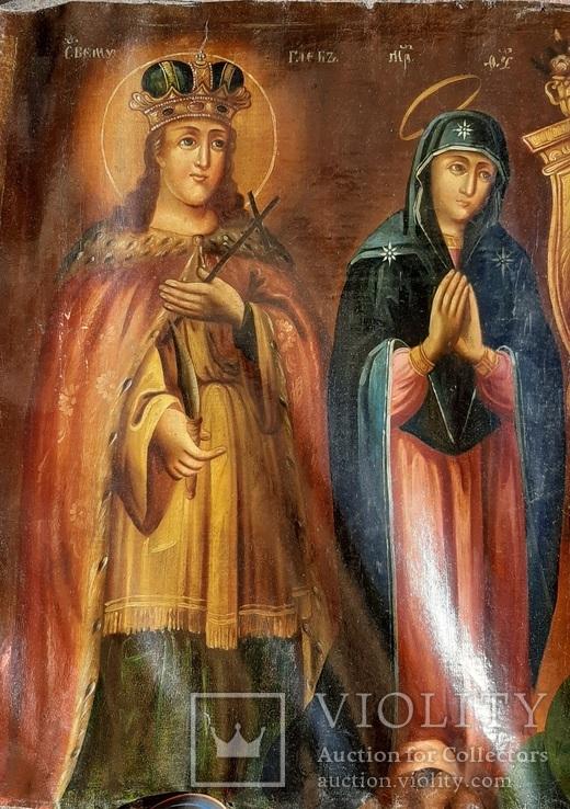 Старинная икона на холсте со св.Глеб,Мария,Иисус,Иоанн,Борис, фото №5