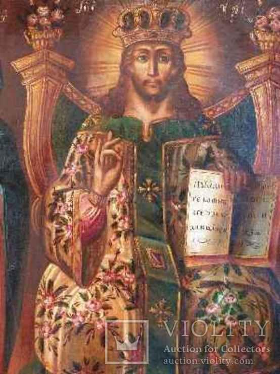 Старинная икона на холсте со св.Глеб,Мария,Иисус,Иоанн,Борис, фото №6