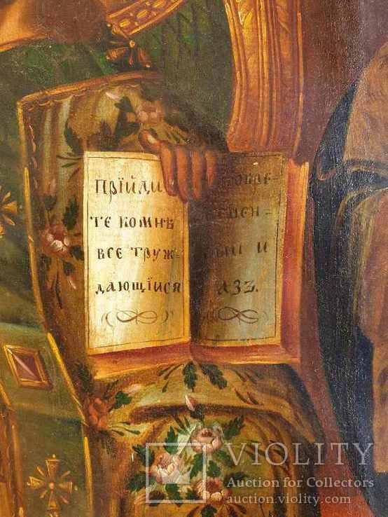 Старинная икона на холсте со св.Глеб,Мария,Иисус,Иоанн,Борис, фото №7