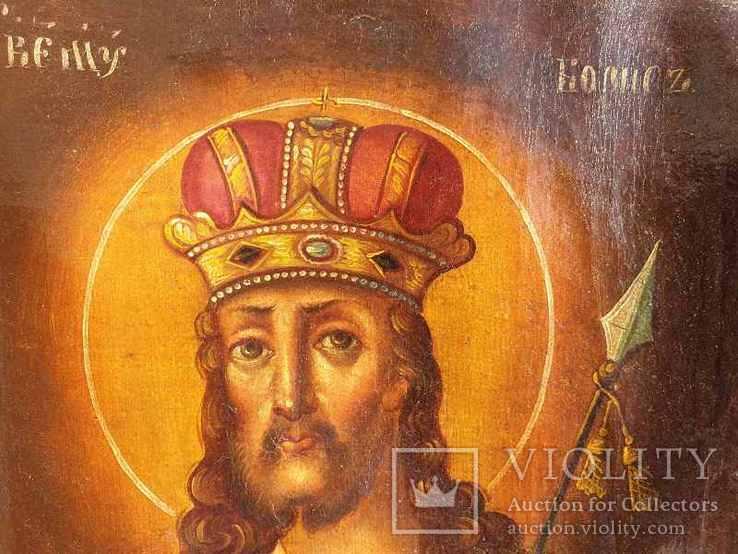 Старинная икона на холсте со св.Глеб,Мария,Иисус,Иоанн,Борис, фото №8