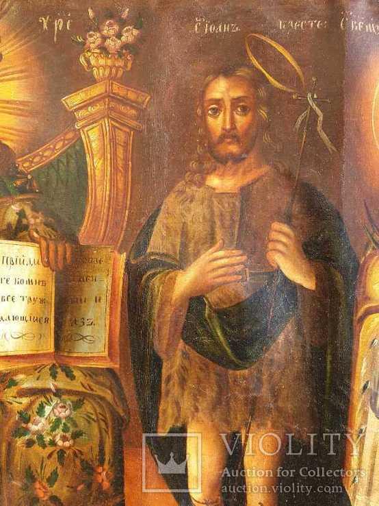Старинная икона на холсте со св.Глеб,Мария,Иисус,Иоанн,Борис, фото №9