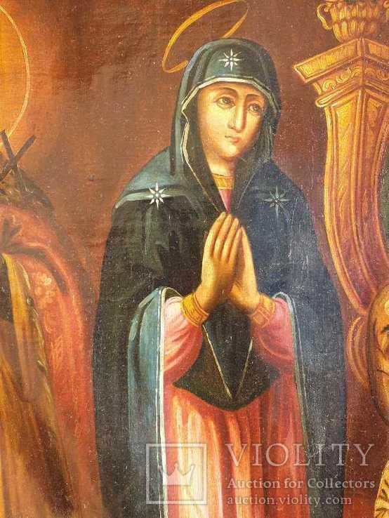 Старинная икона на холсте со св.Глеб,Мария,Иисус,Иоанн,Борис, фото №10