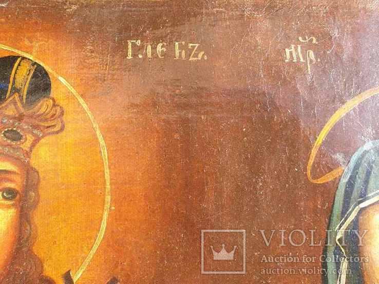 Старинная икона на холсте со св.Глеб,Мария,Иисус,Иоанн,Борис, фото №11