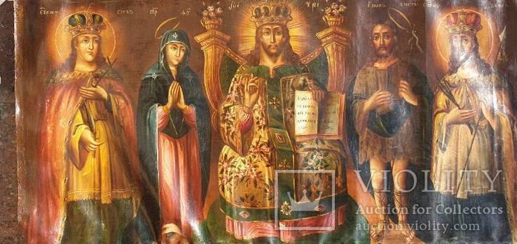 Старинная икона на холсте со св.Глеб,Мария,Иисус,Иоанн,Борис, фото №12