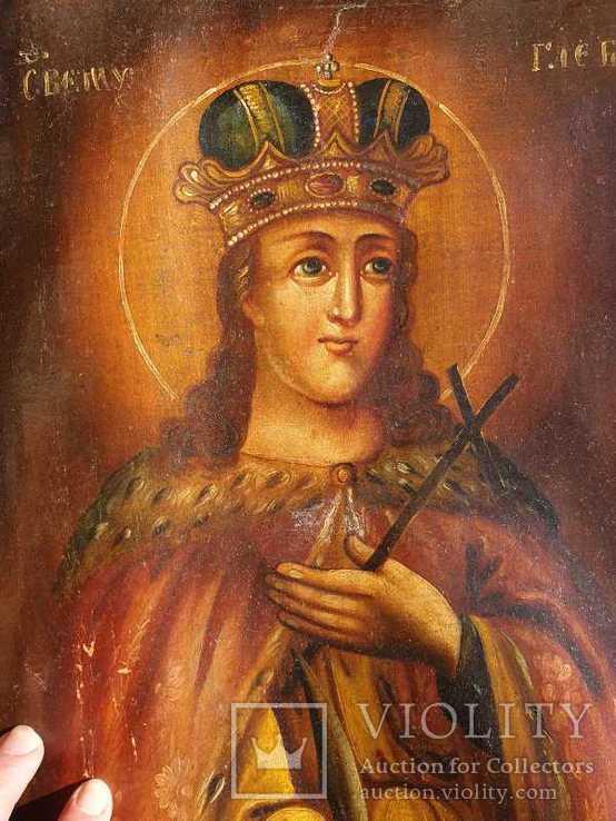 Старинная икона на холсте со св.Глеб,Мария,Иисус,Иоанн,Борис, фото №13