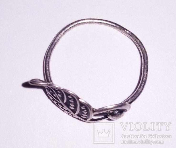 Кольцо с листом мельхиор серебрение, клеймо., фото №4