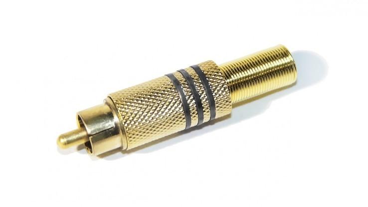КОННЕКТОР RCA METAL Штекер RCA черный (металлический Gold (пайка)