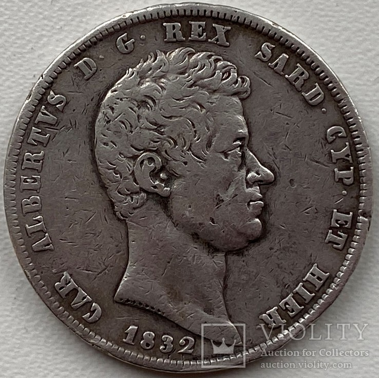 Сардиния 5 лир 1832 год