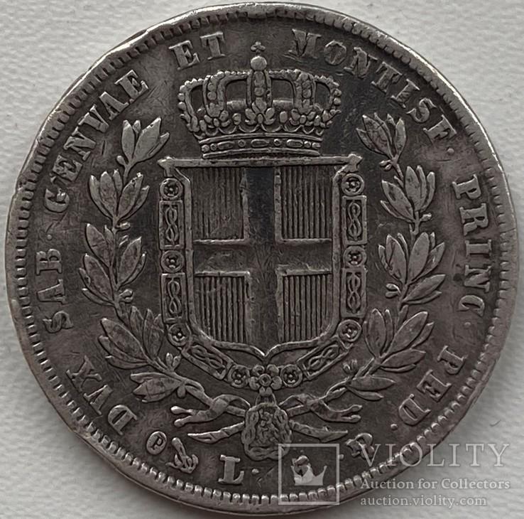 Сардиния 5 лир 1832 год, фото №3