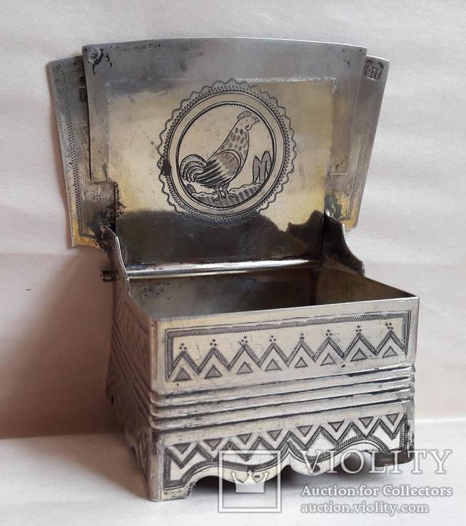Серебряная солонка (стул, трон) с гербом и хлебосольной надписью, фото №6