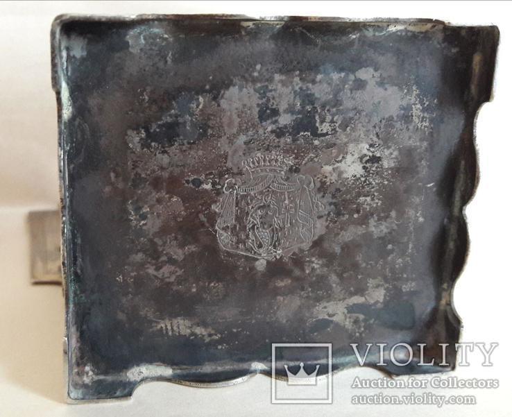 Серебряная солонка (стул, трон) с гербом и хлебосольной надписью, фото №7