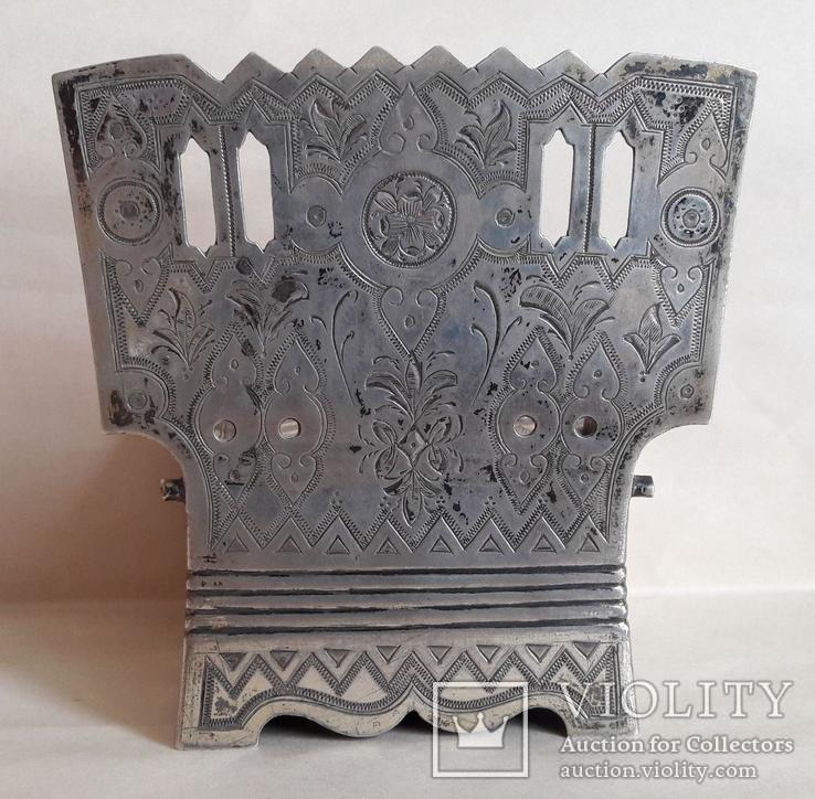 Серебряная солонка (стул, трон) с гербом и хлебосольной надписью, фото №9
