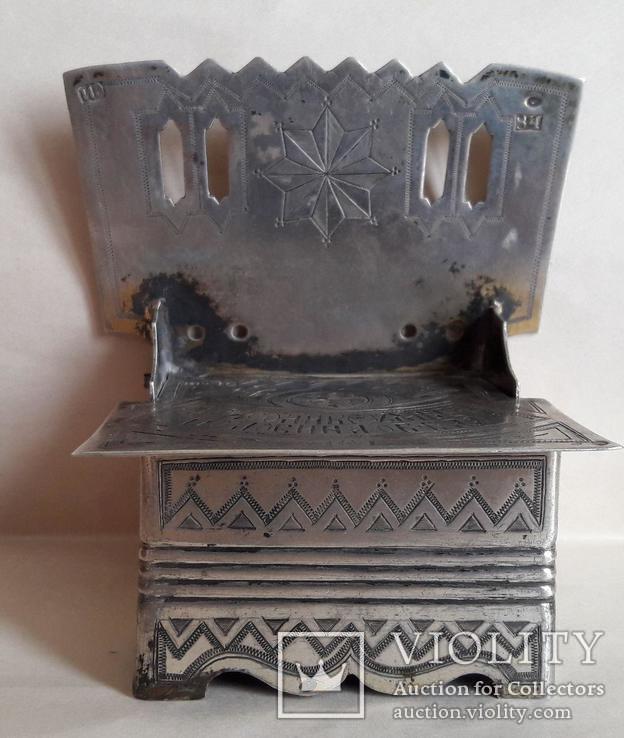 Серебряная солонка (стул, трон) с гербом и хлебосольной надписью, фото №11