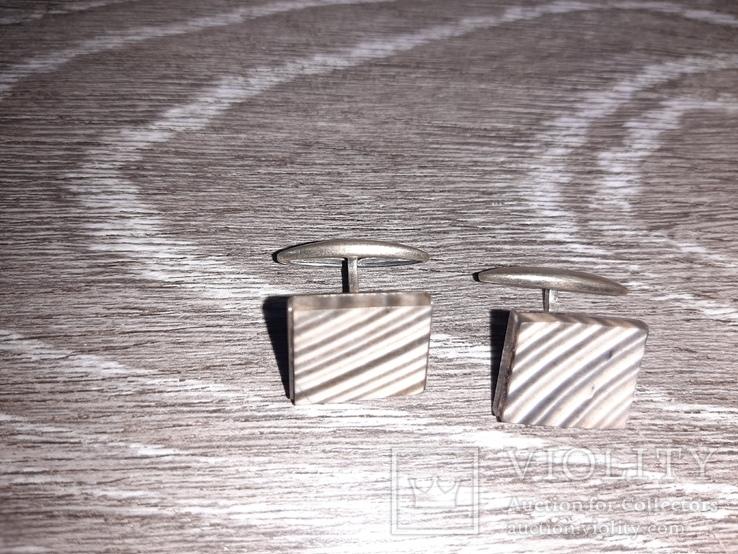 Советские запонки. Серебро 875 проба  Серебрянные СССР с натуральным камнем, фото №3