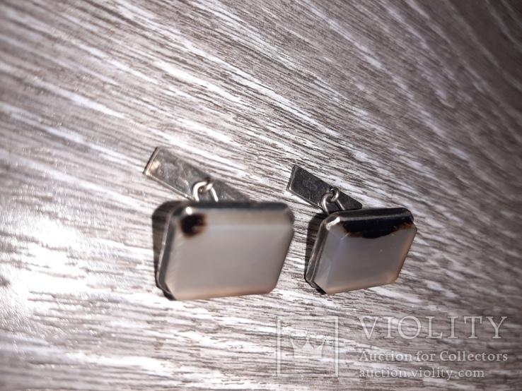 Советские запонки Серебро 875 проба  серебрянные СССР с натуральным камнем 50 е годы, фото №5