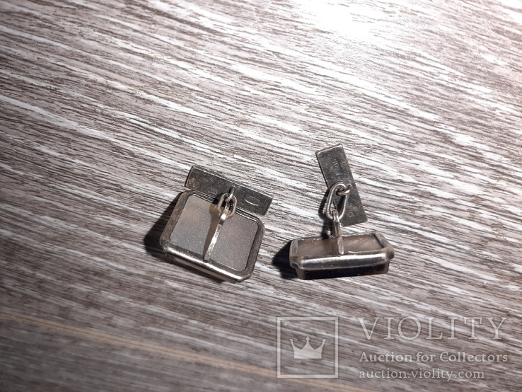 Советские запонки Серебро 875 проба  серебрянные СССР с натуральным камнем 50 е годы, фото №6