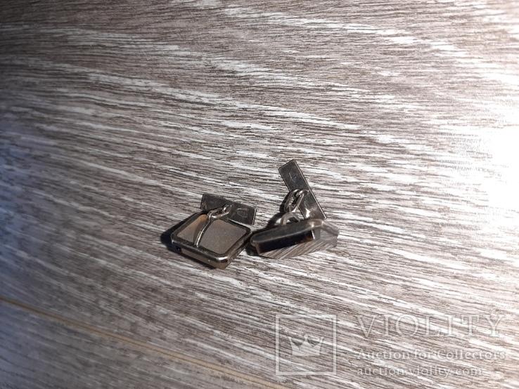 Советские запонки Серебро 875 проба  серебрянные СССР с натуральным камнем 50 е годы, фото №7